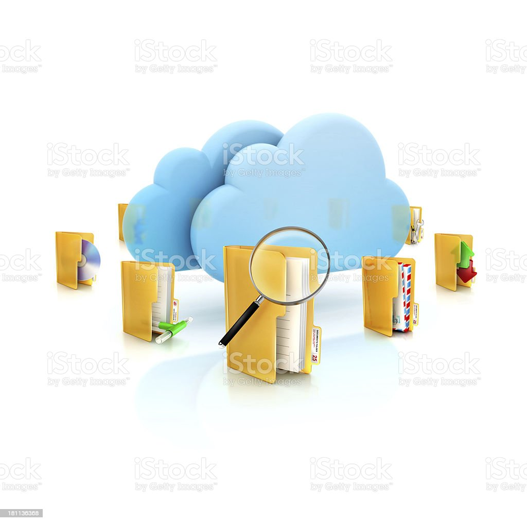 Cloud Service with different folder icons and tasks around royalty-free stock photo