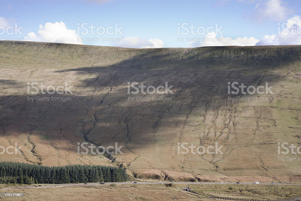 Cloud shadow over welsh mountain landscape royalty-free stock photo