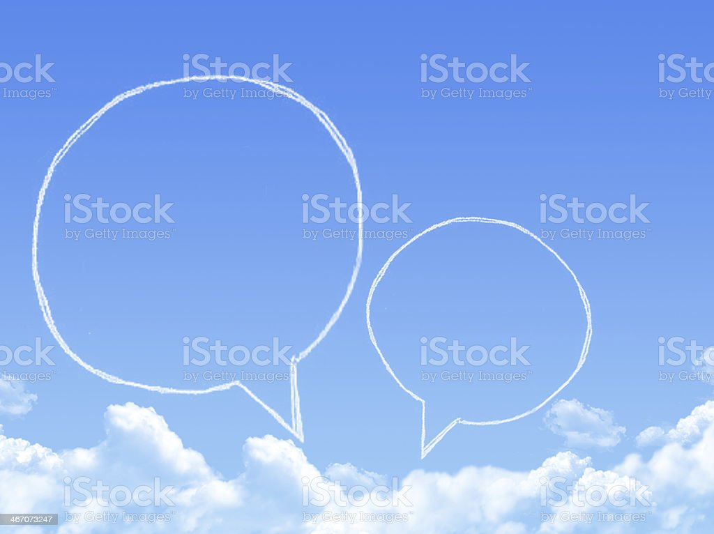 Cloud shaped as chat ,dream concept stock photo
