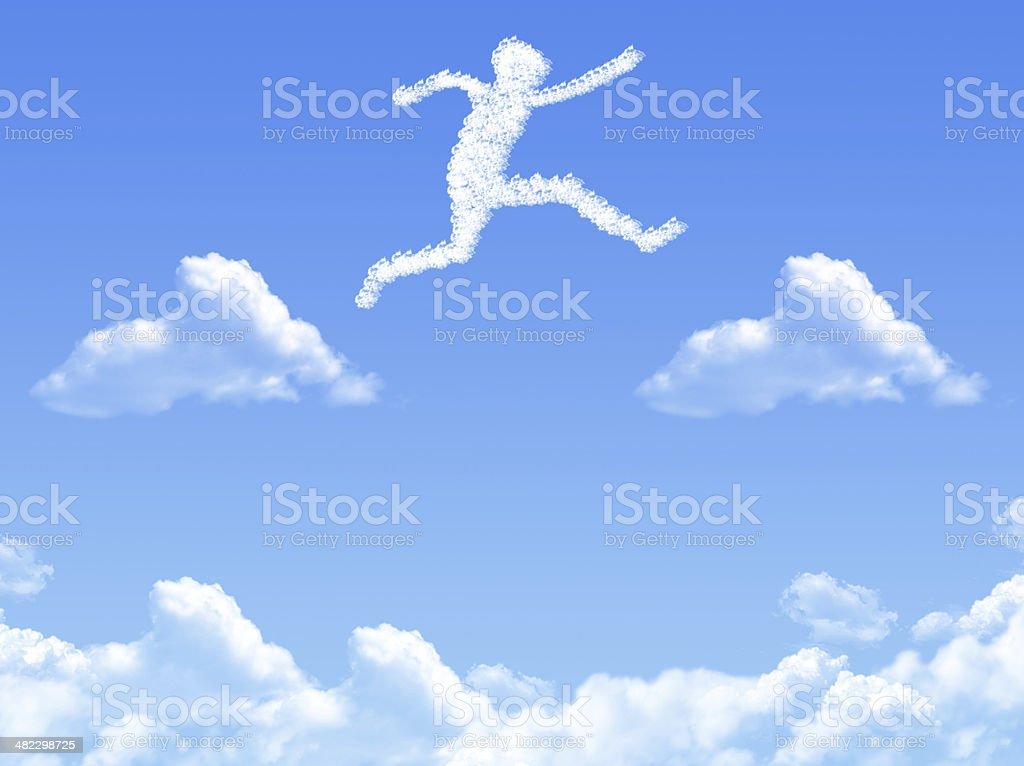 Cloud shaped as  jump royalty-free stock photo