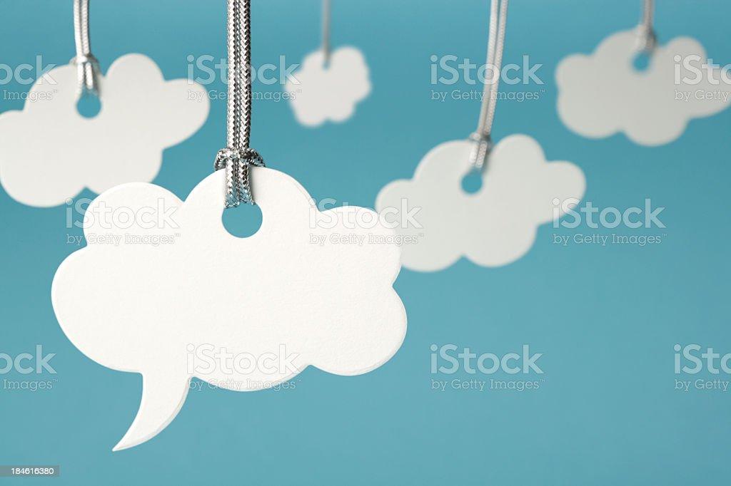 Cloud shaped speech bubble stock photo