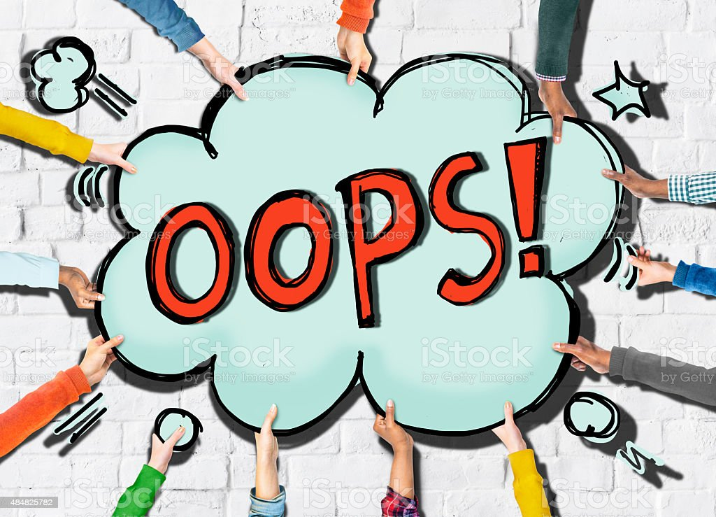 Cloud Shaped Speech Bubbles with the Word OOPS! stock photo