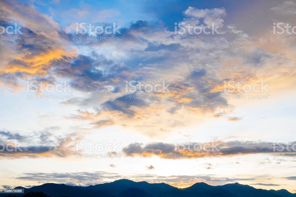 Cloud sky landscape background. stock photo