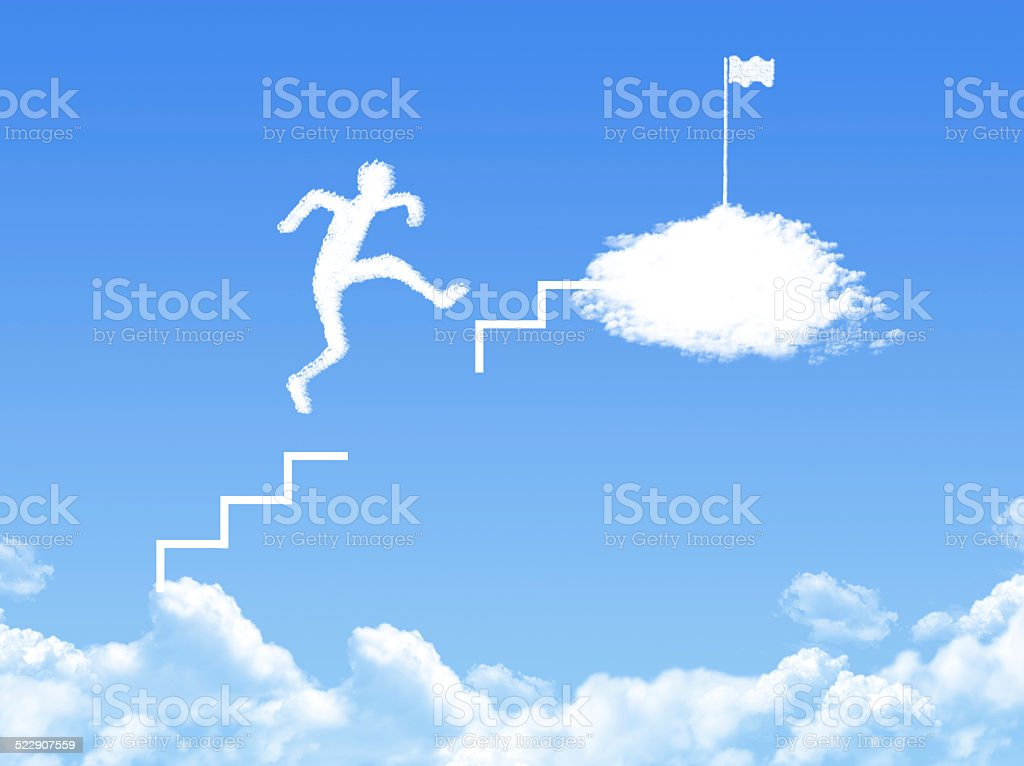 cloud stair, the way to success in blue sky stock photo