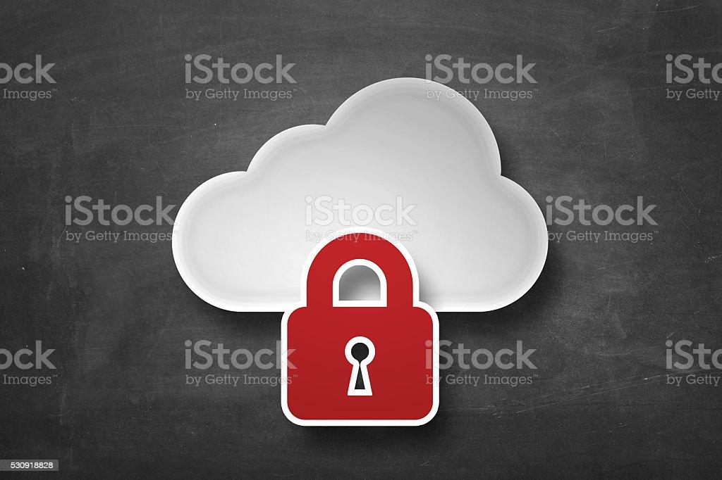 Cloud storage locked stock photo