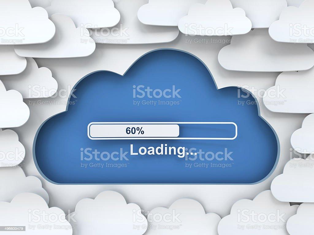 Cloud symbol with loading progress bar, 3d render stock photo