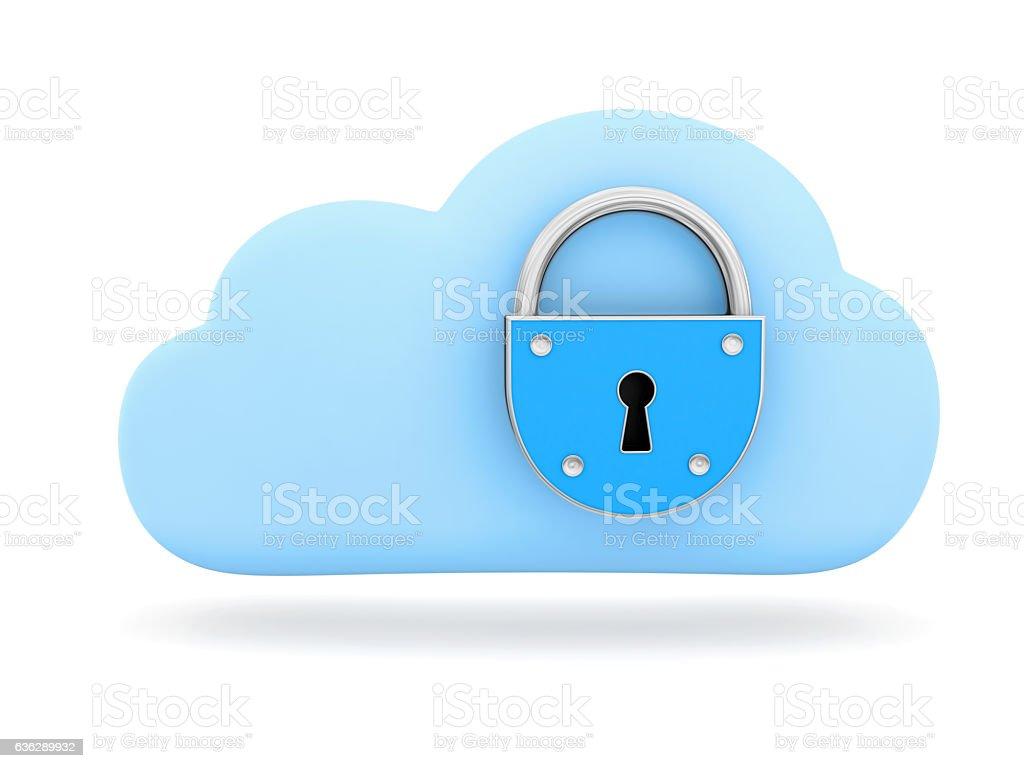 Cloud symbol with padlock stock photo