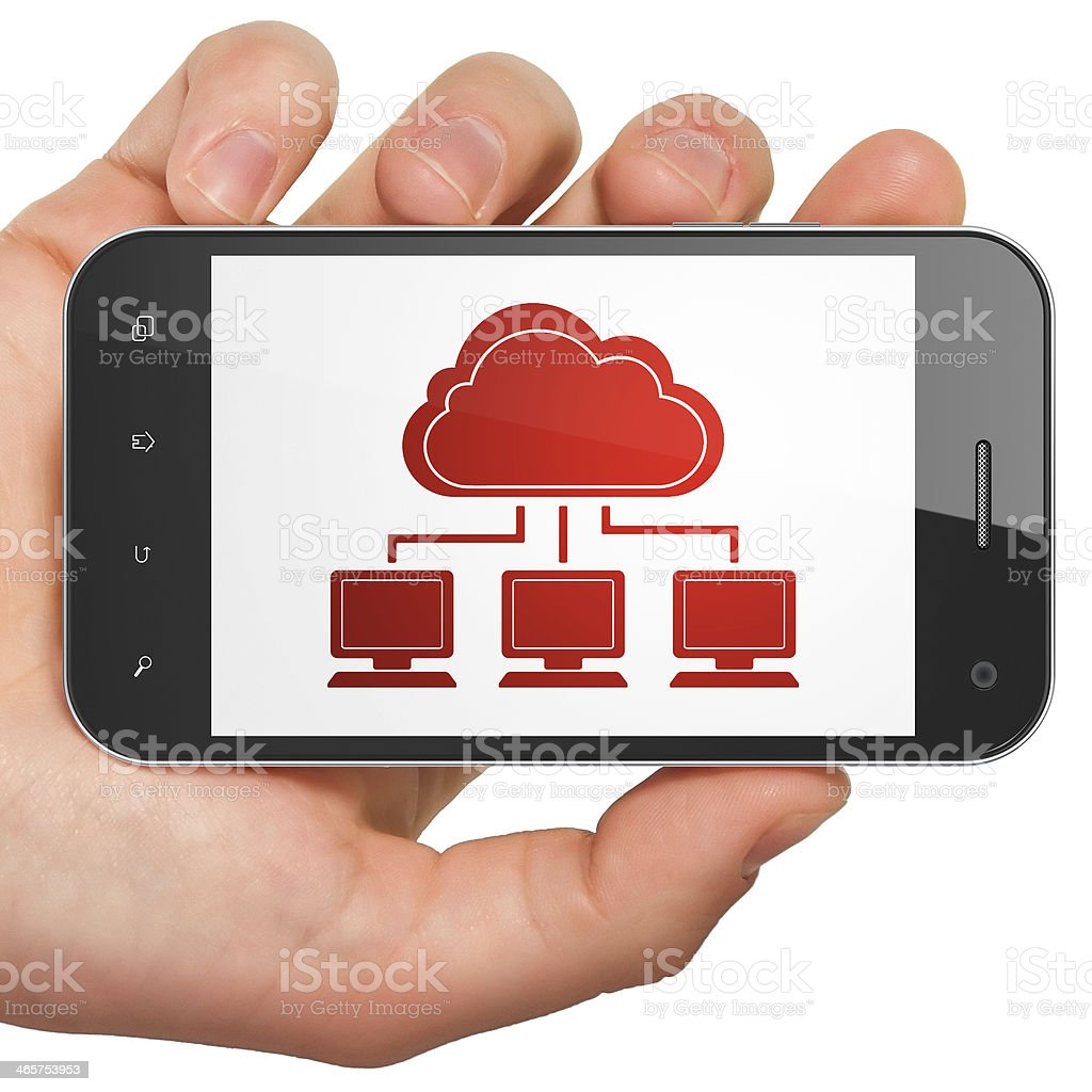 Cloud technology concept: Network on smartphone royalty-free stock photo