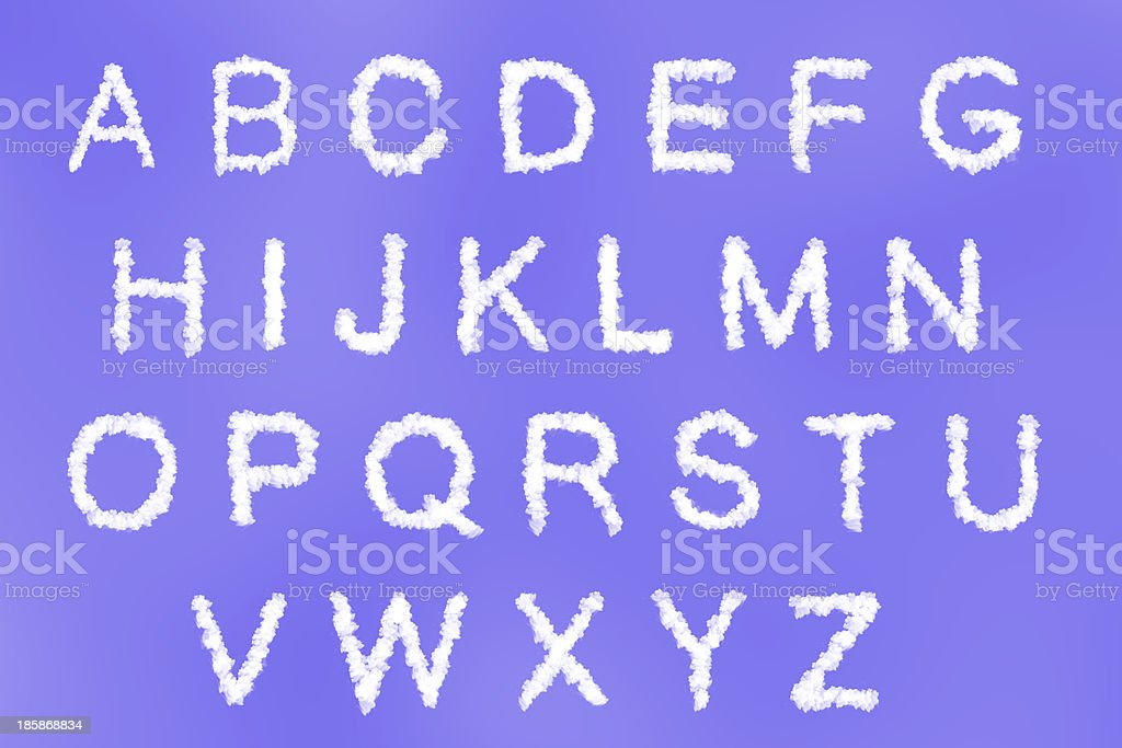 cloud text with design on blue sky background stock photo