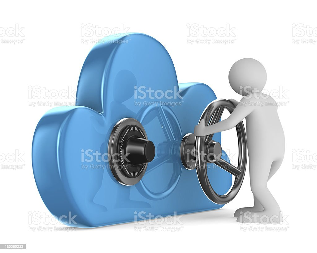 Cloud with lock on white background. Isolated 3D image stock photo