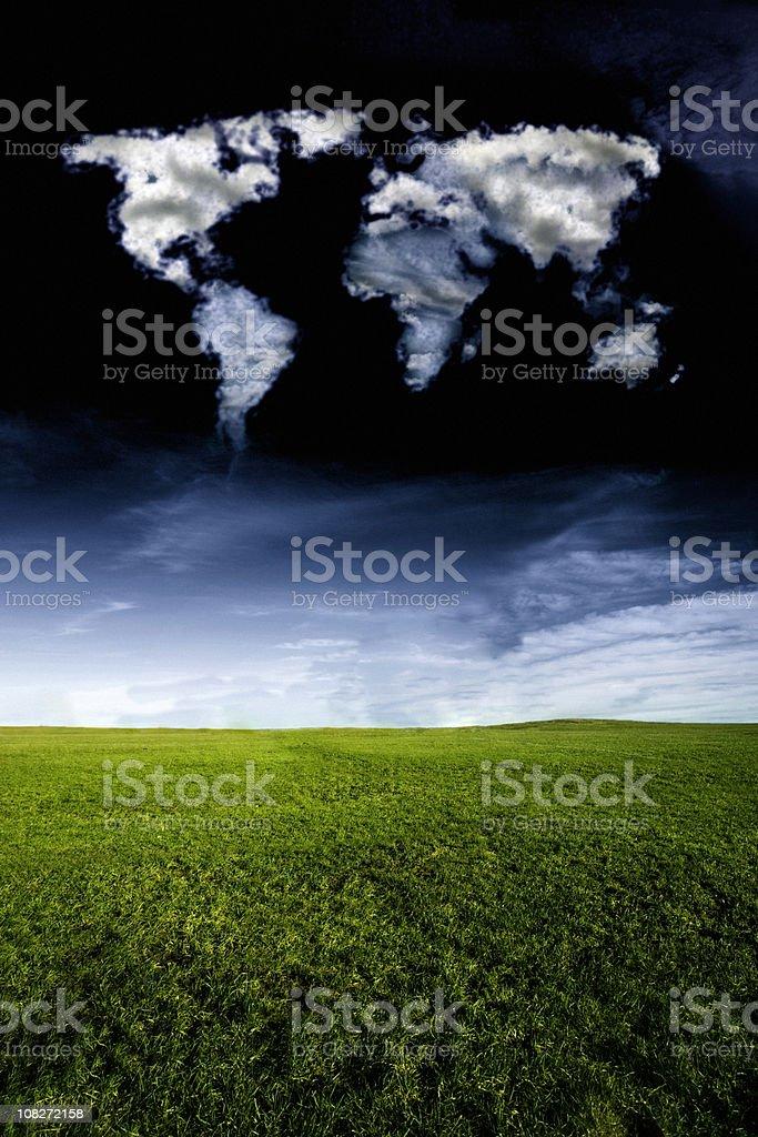 Cloud World Map Dark Sky royalty-free stock photo
