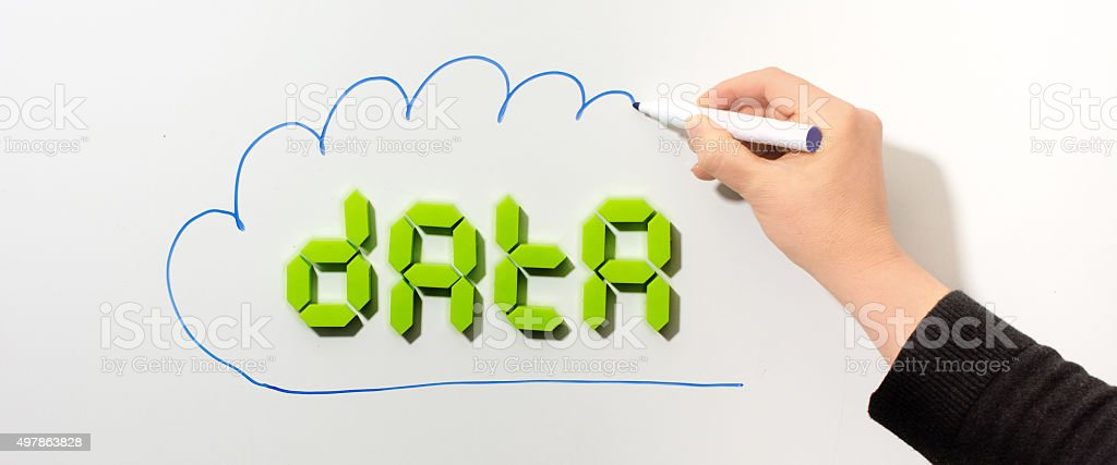 cloudcomputing word data in digit text stock photo
