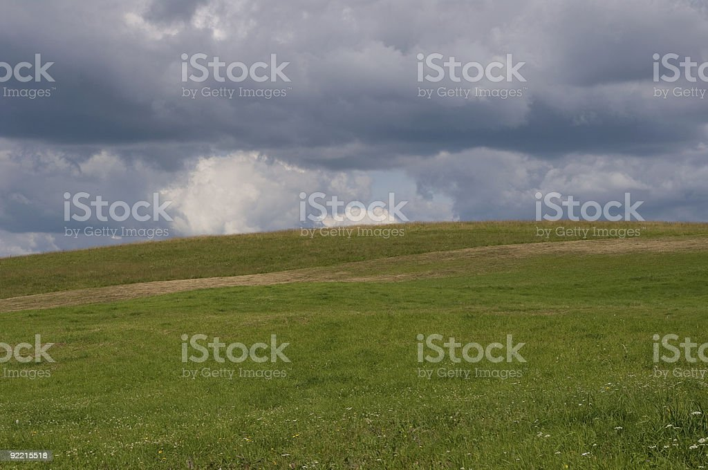 Cloud-covered field stock photo