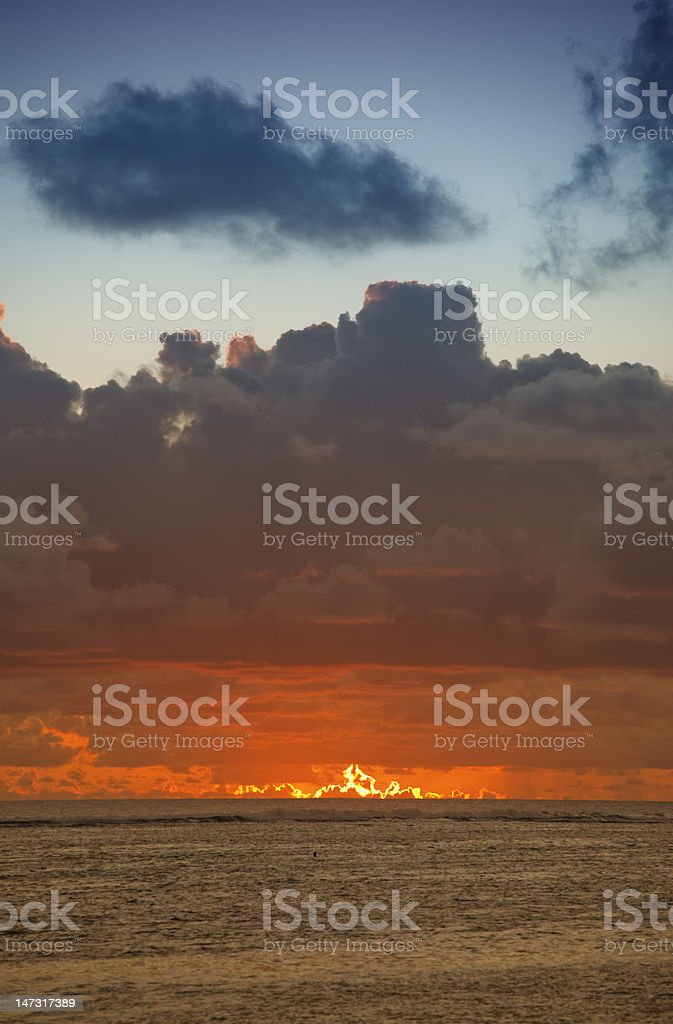 Clouded Sky glowing at Dusk royalty-free stock photo
