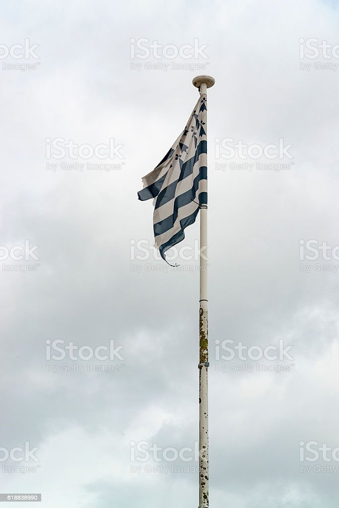 clouded sky with breton flag stock photo