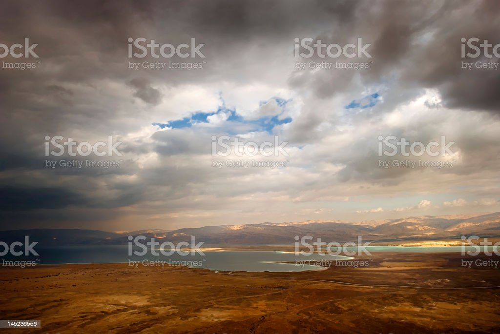 A clouded view of the Dead Sea royalty-free stock photo