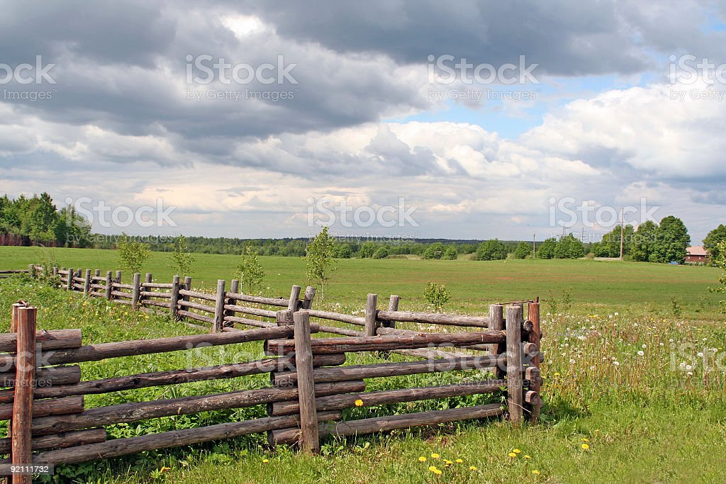 Clouds above a field royalty-free stock photo