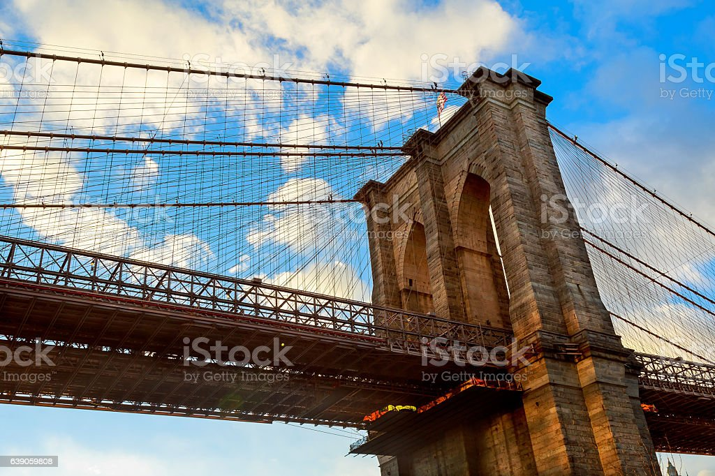 Clouds above Brooklyn Bridge, wide angle view - New York stock photo