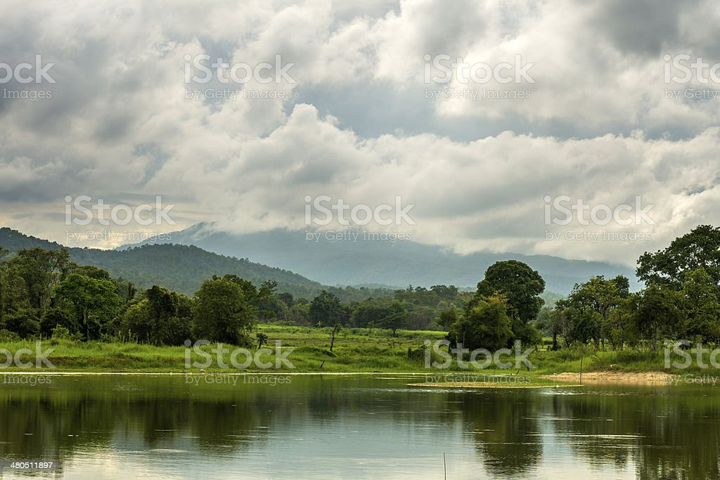 Clouds above lake in Thailand royalty-free stock photo