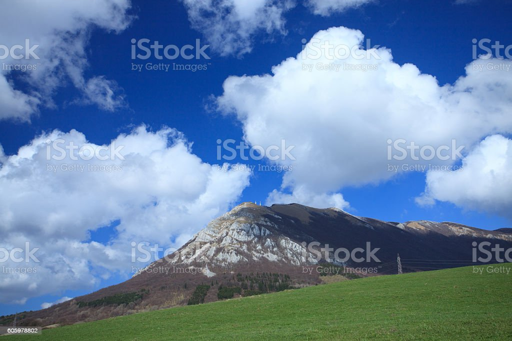 Clouds above the mountain stock photo
