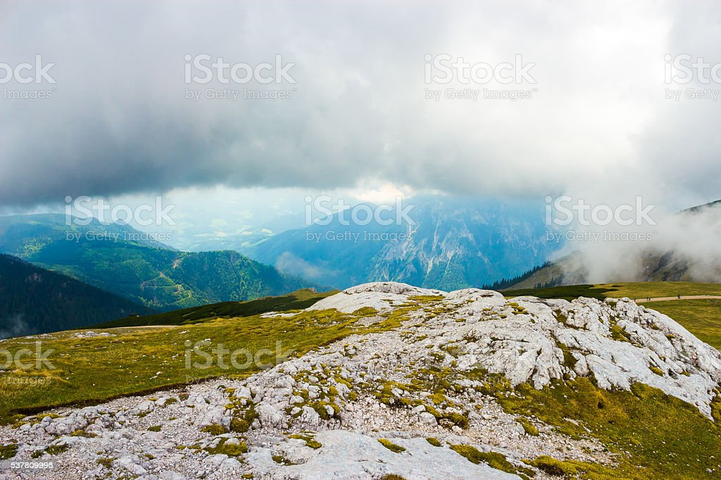Clouds above the Schneeberg mountain in Lower Austria in spring stock photo