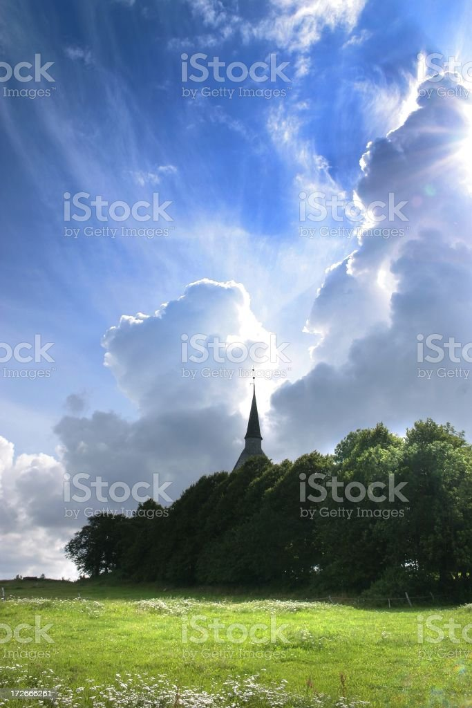 clouds and church royalty-free stock photo