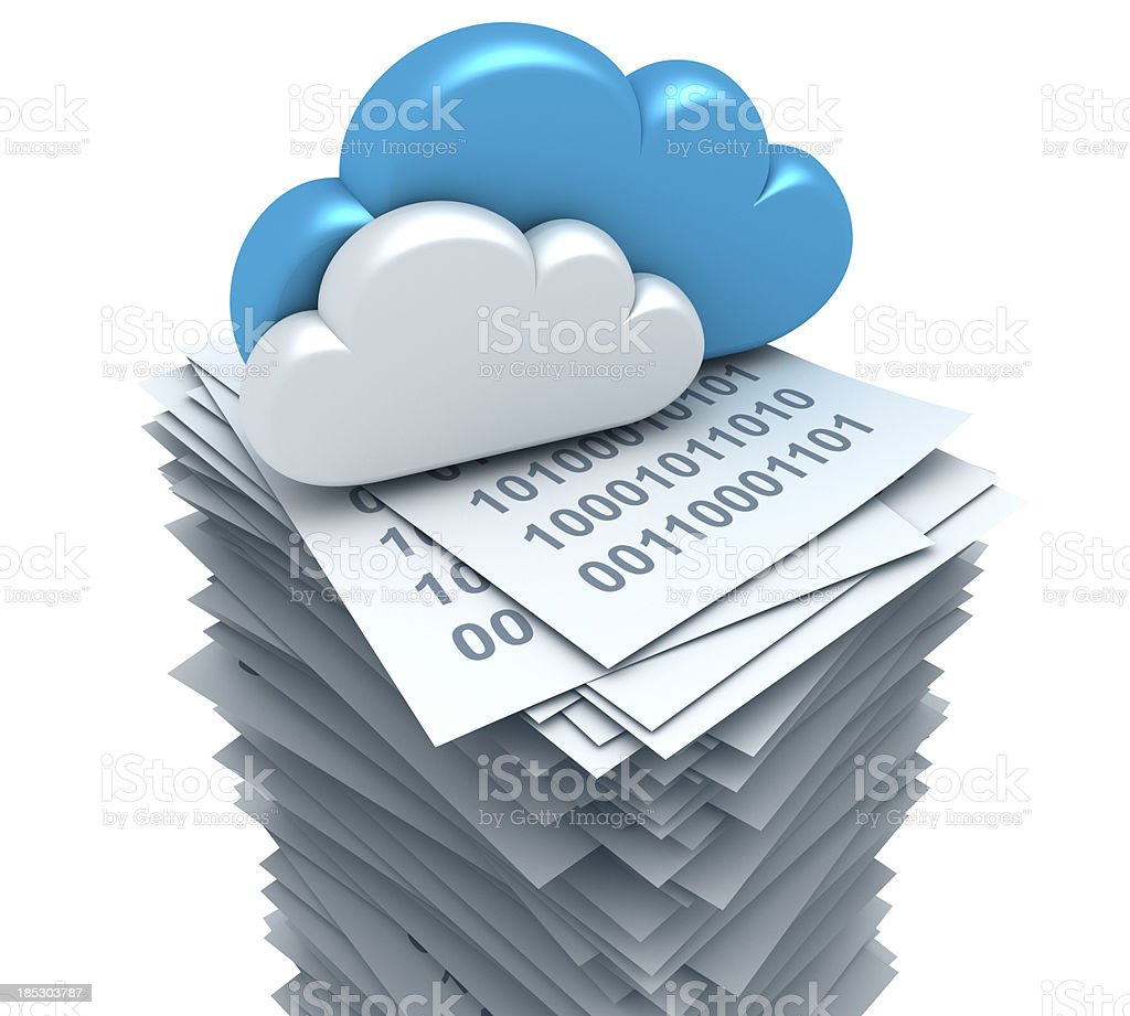 Clouds and documents. stock photo