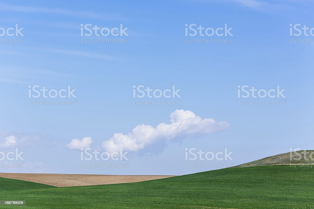 clouds and green fields royalty-free stock photo