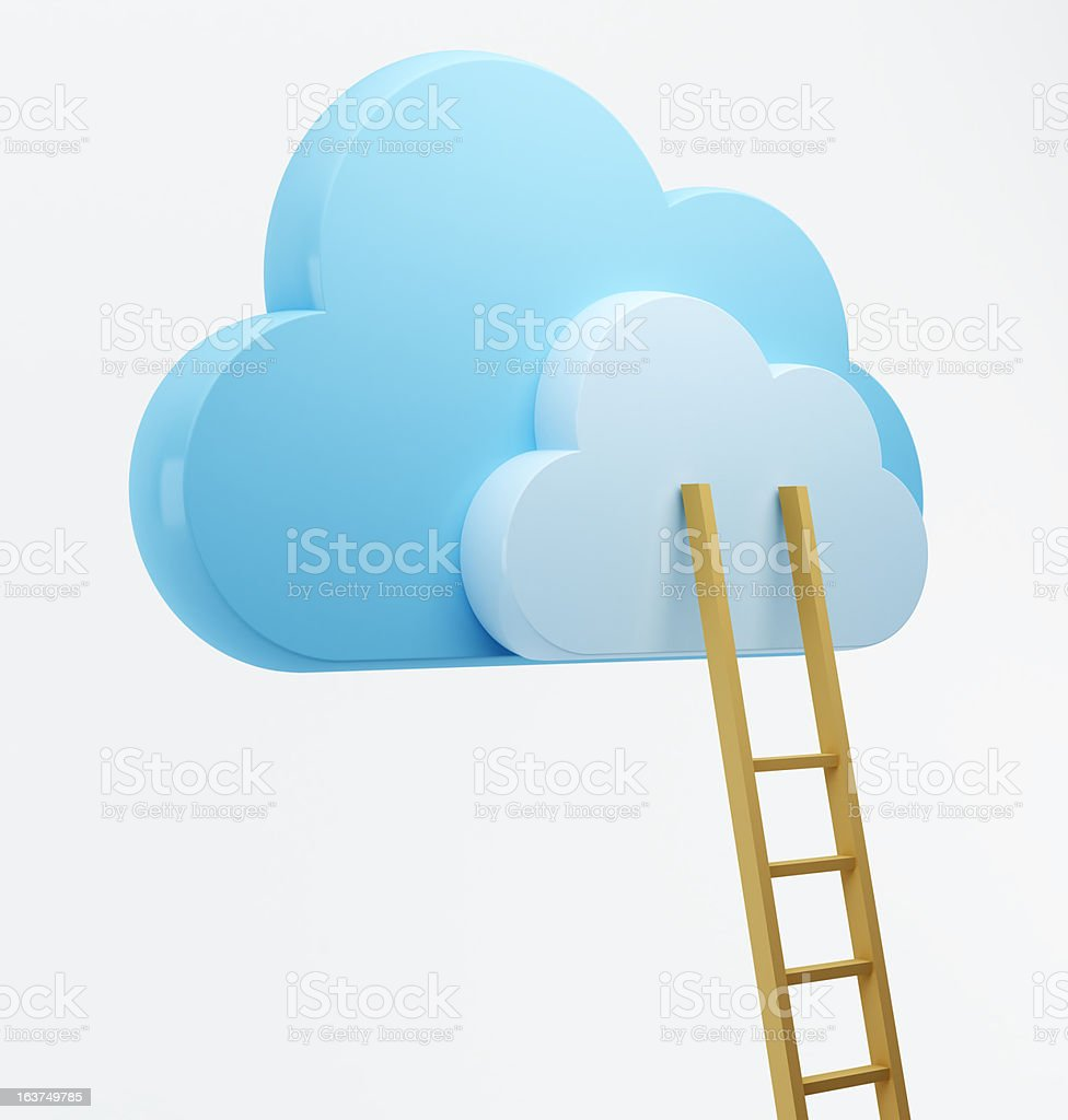 Clouds and ladder, cloud computing royalty-free stock photo
