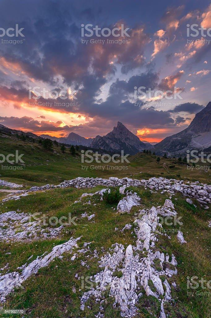 Clouds and light over the Sass de Stria stock photo