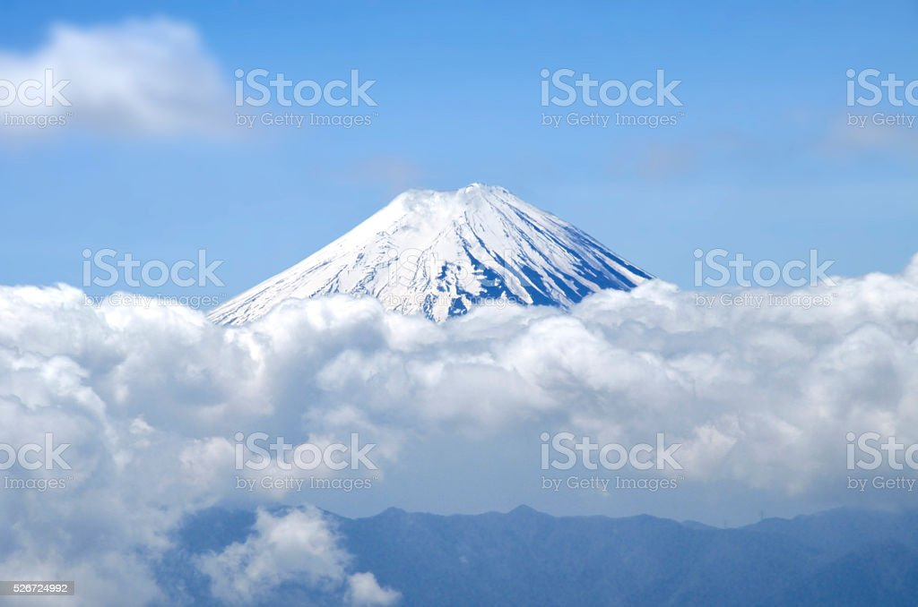 clouds and Mount Fuji stock photo