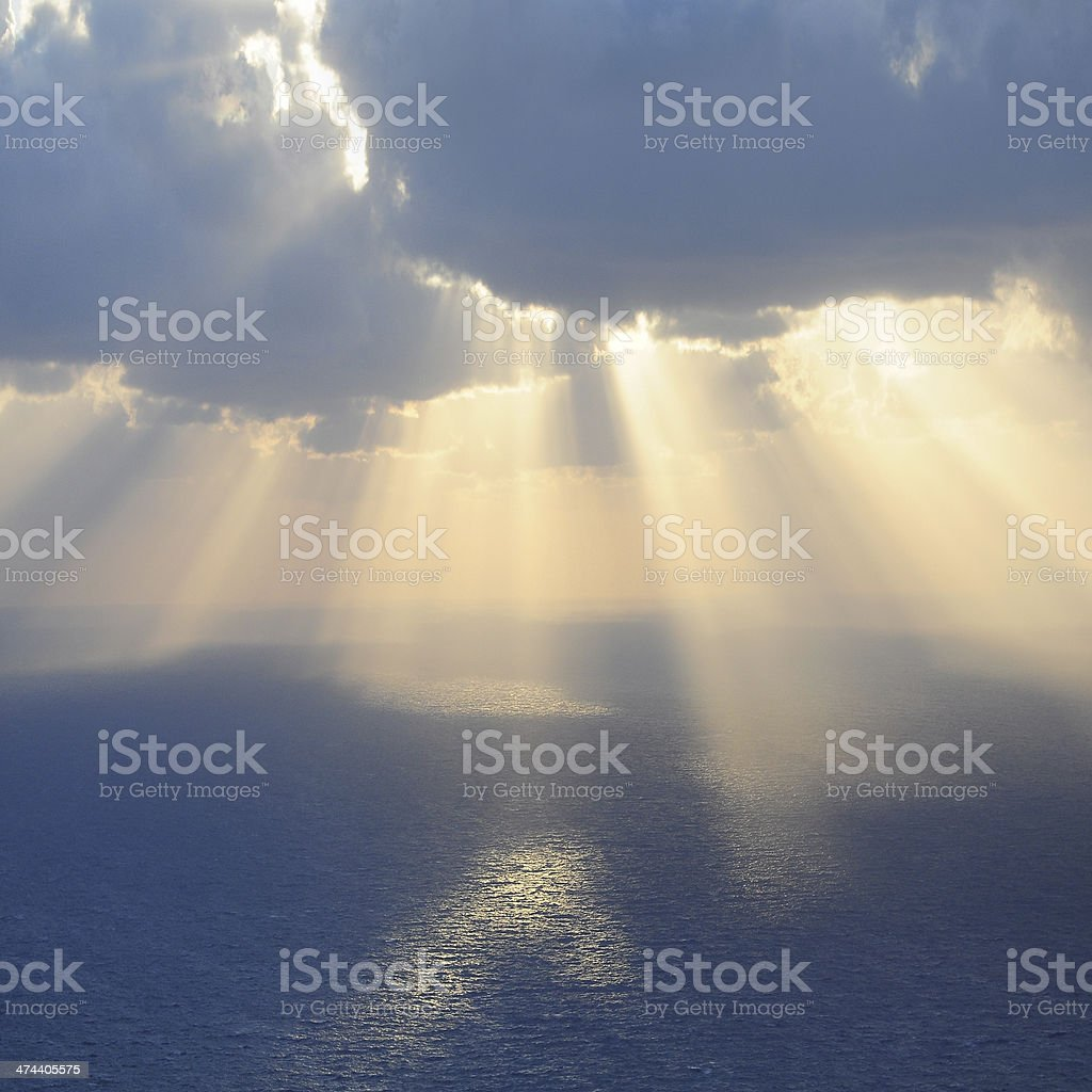 Clouds and rays of sun. stock photo