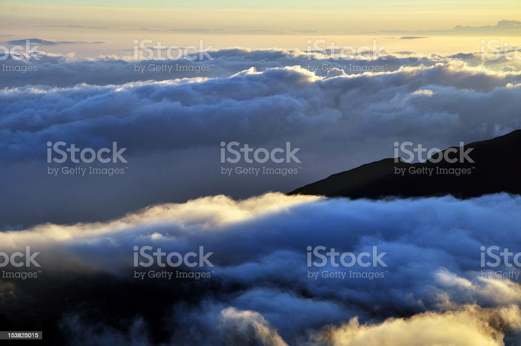 Clouds and shadow after sunrise - Haleakala Crater, Maui, Hawaii royalty-free stock photo