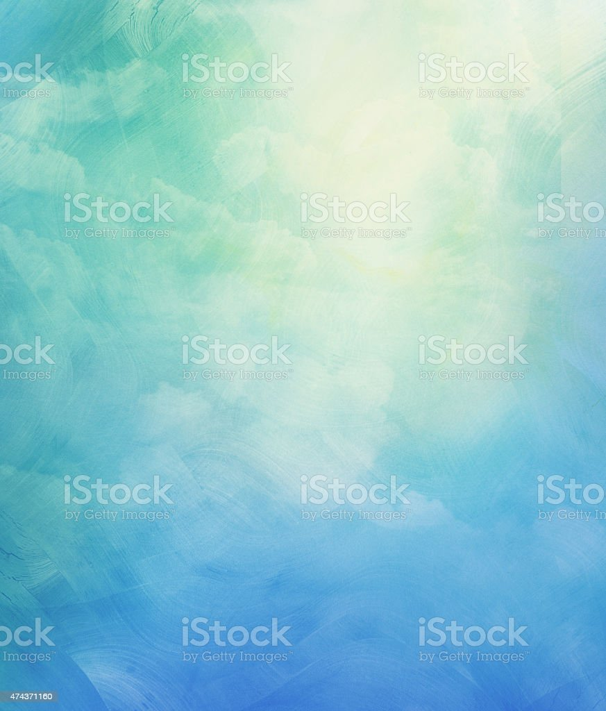 Clouds and sky on blue watercolor background stock photo