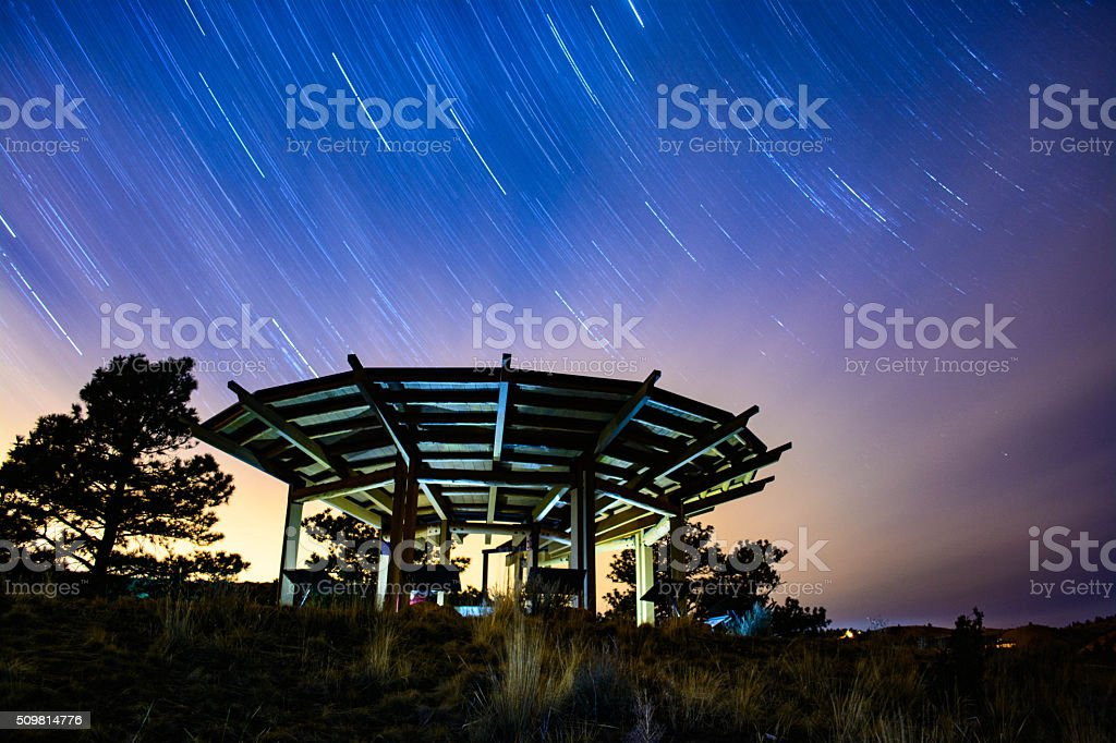 Clouds and Star Trails stock photo