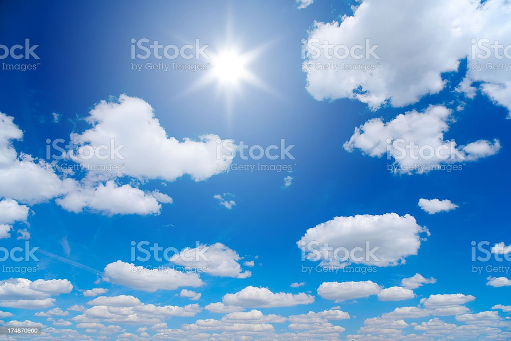 Clouds and Sun on Blue Sky royalty-free stock photo