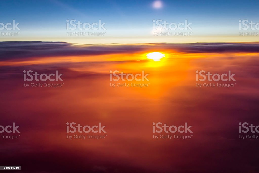 Clouds and sun over the skies of Europe stock photo