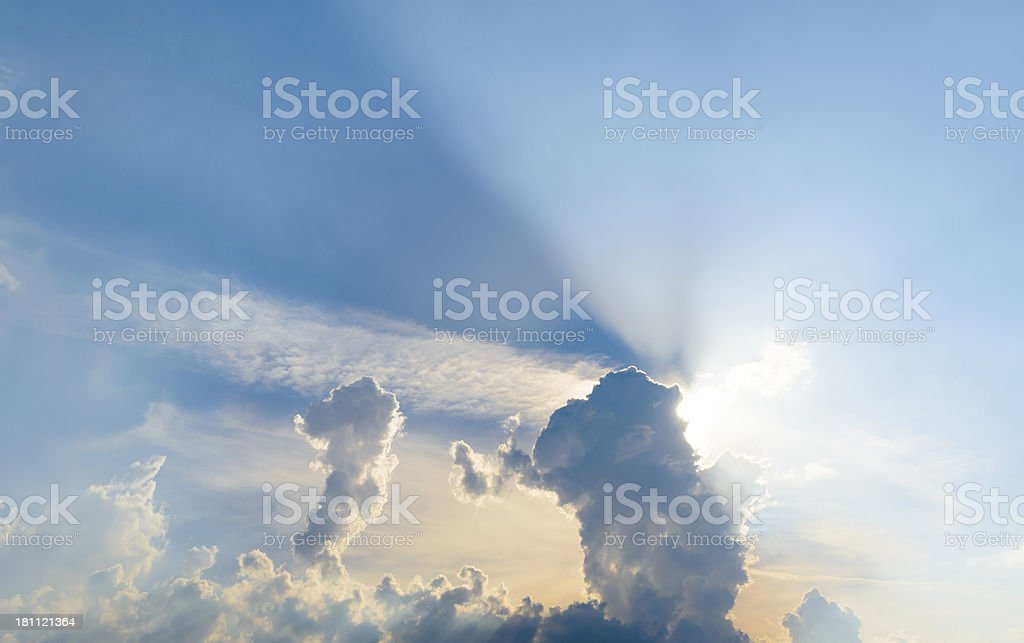 clouds and sunbeam royalty-free stock photo