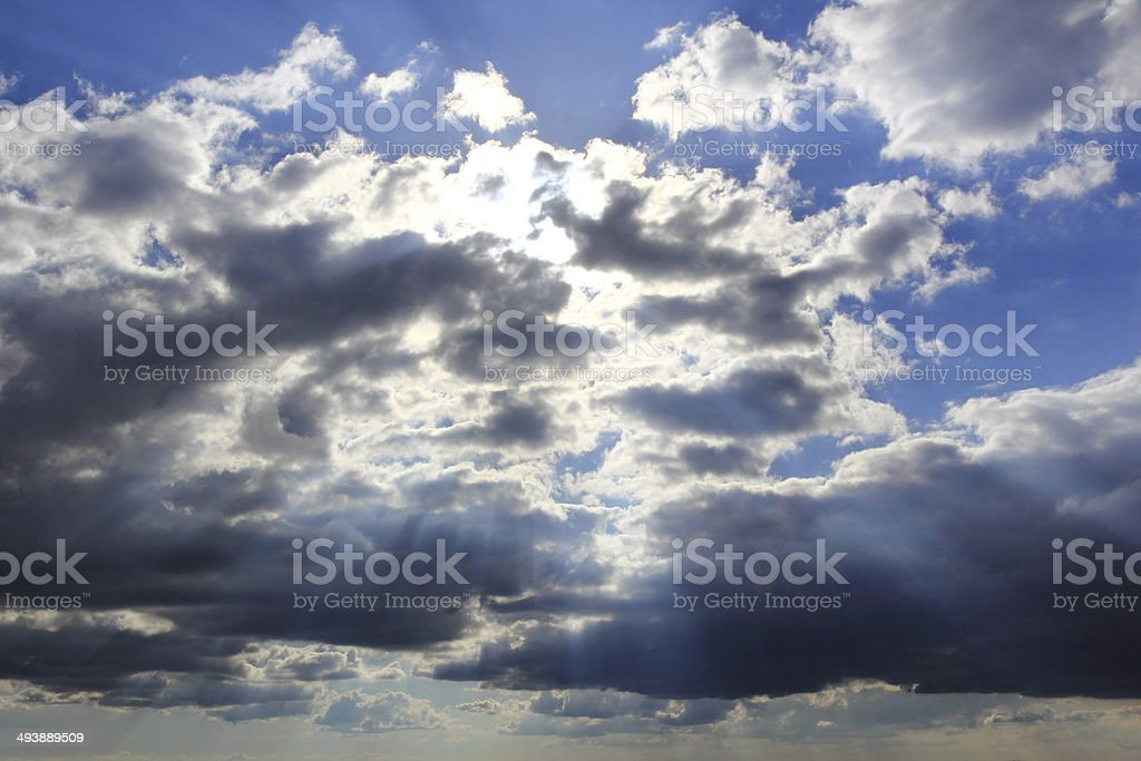 Clouds and sunbeams royalty-free stock photo
