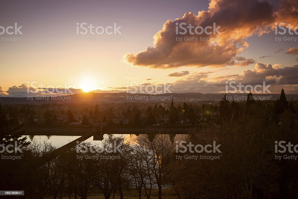 Clouds and Sunset Over Portland Oregon stock photo