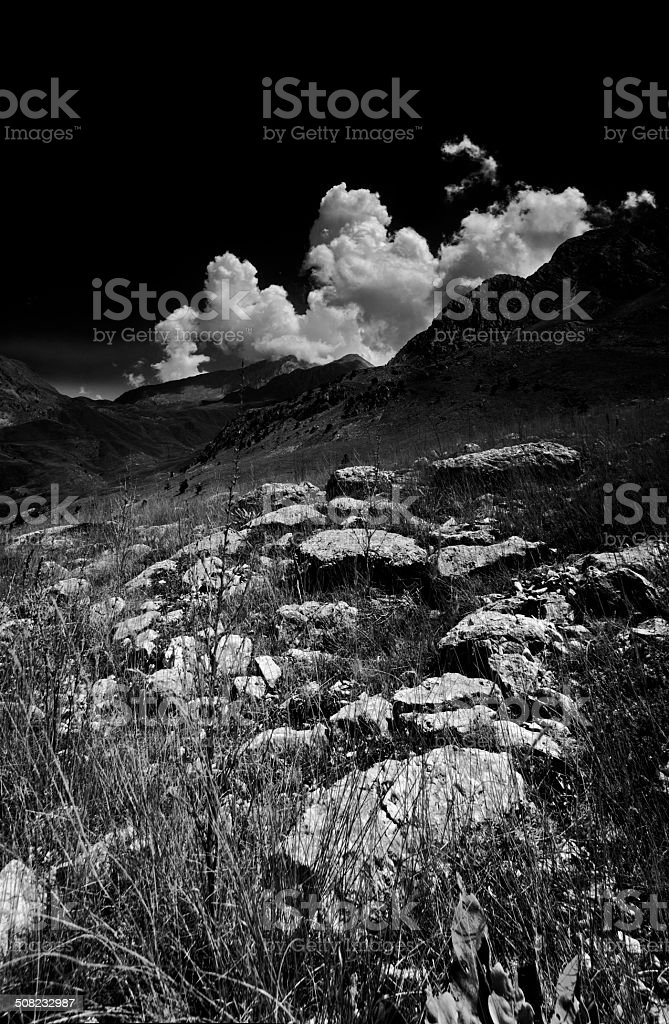 Clouds and the mountains royalty-free stock photo
