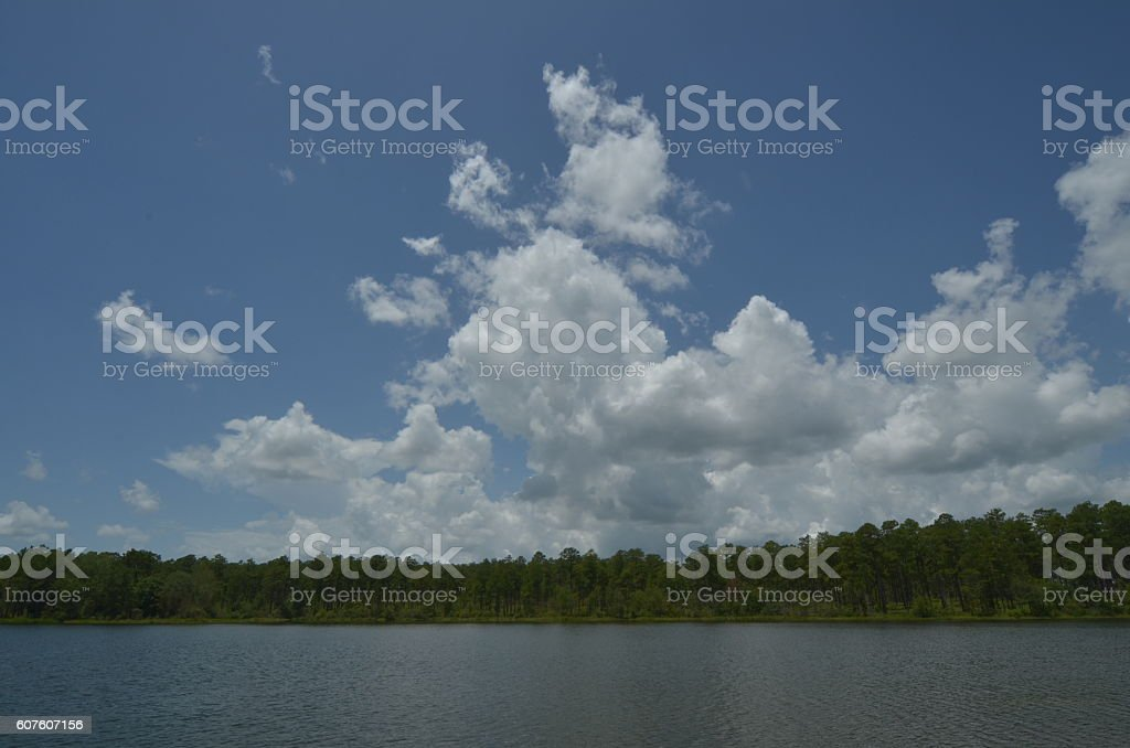 Clouds approaching over lake with forest  treeline stock photo