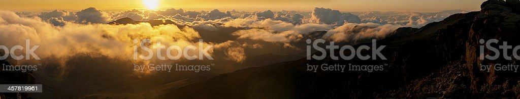 Clouds at sunrise over Haleakala Crater, Maui, Hawaii, USA royalty-free stock photo