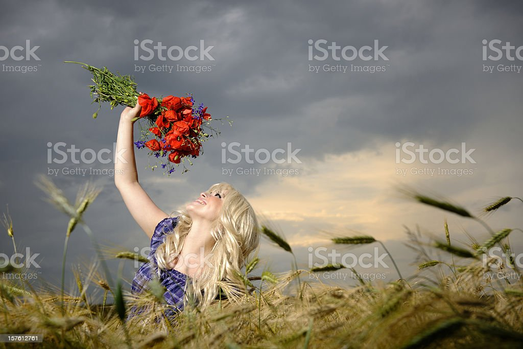 clouds, beautiful woman and a corn field royalty-free stock photo