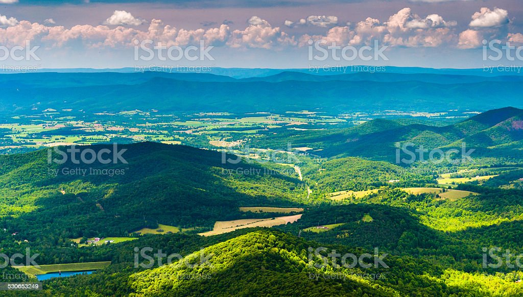 Clouds cast shadows over the Appalachian Mountains and Shenandoa stock photo
