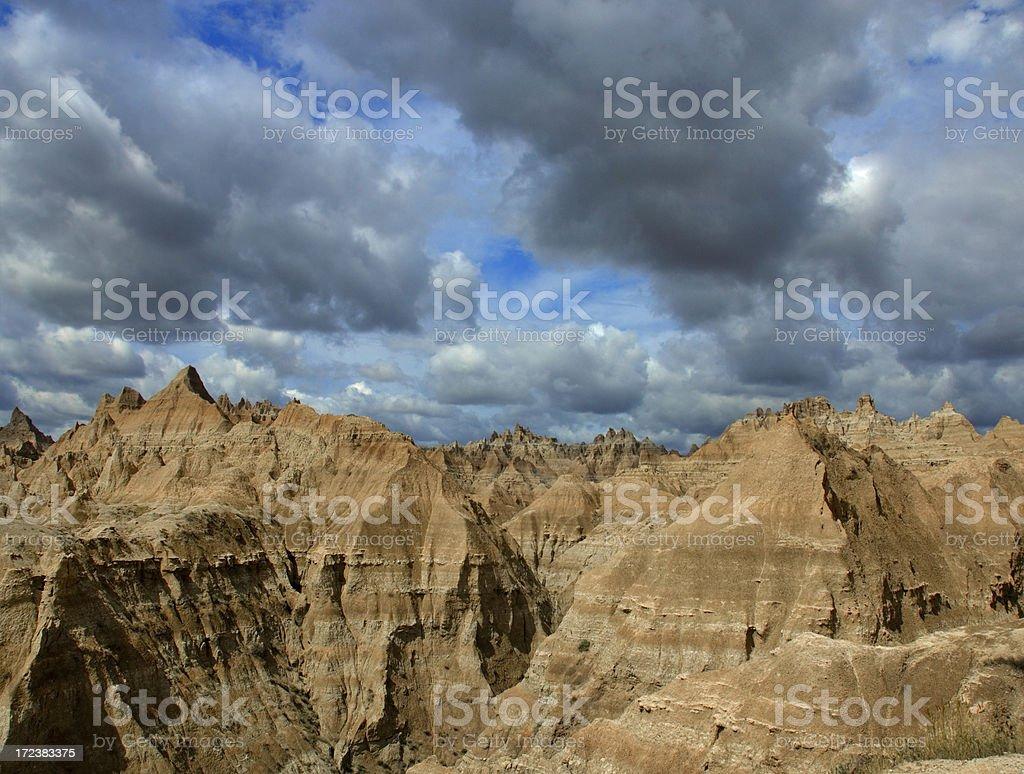 Clouds Darken Over Badlands stock photo