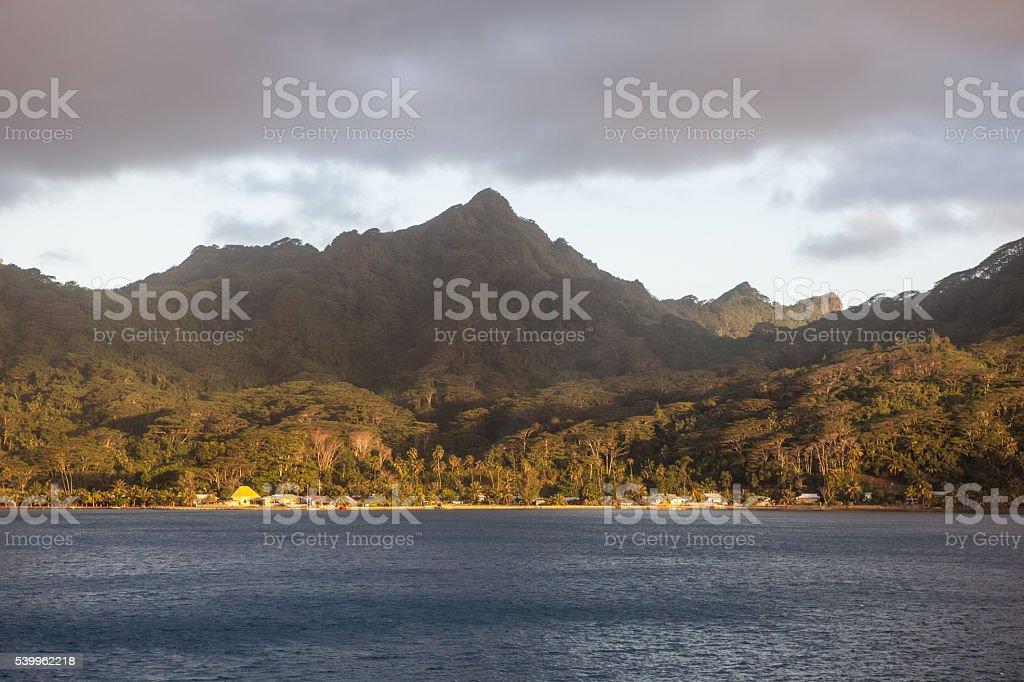 Clouds Drifting Over Polynesian Island stock photo