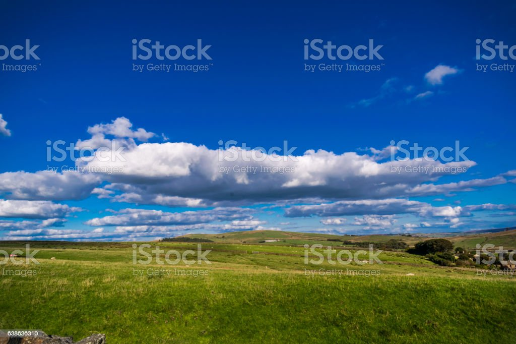 Clouds Formation over a farm stock photo