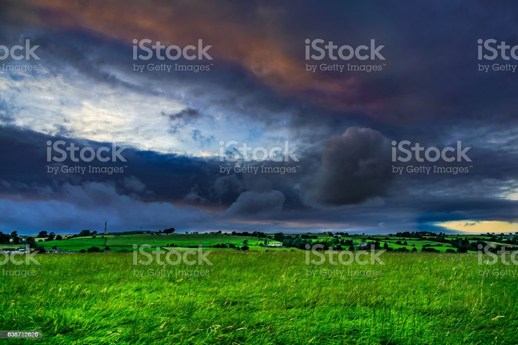 Clouds Formation Over Lancashire Countryside stock photo