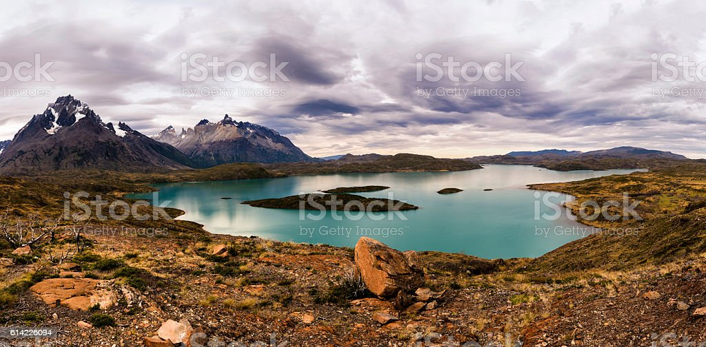 Clouds Forming Over the Lake Nordenskjord, Chile stock photo